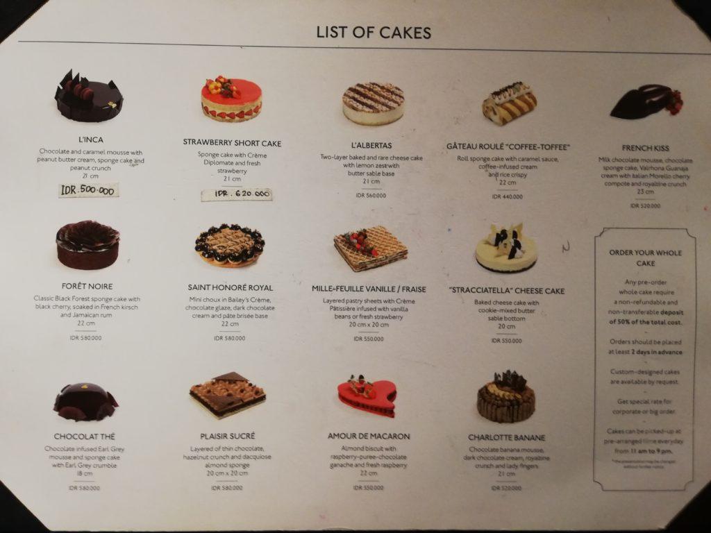 Bistro Garçonのケーキ一覧。価格表